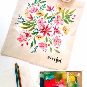 Acrylic Watercolor tote DIY tutorial
