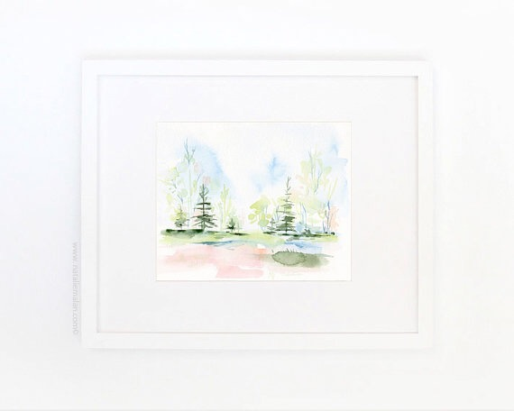 watercolor print blush landscape sita montgomery family room