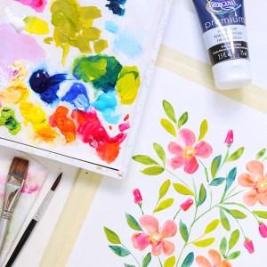 DIY Watercolor tutorial Acrylic florals video painting