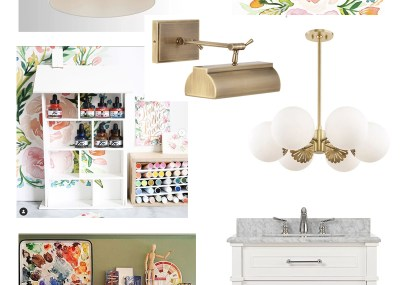 Art Studio Design Board featured by Natalie Malan Surface Designer and Illustrator in Utah lights furniture sink organization