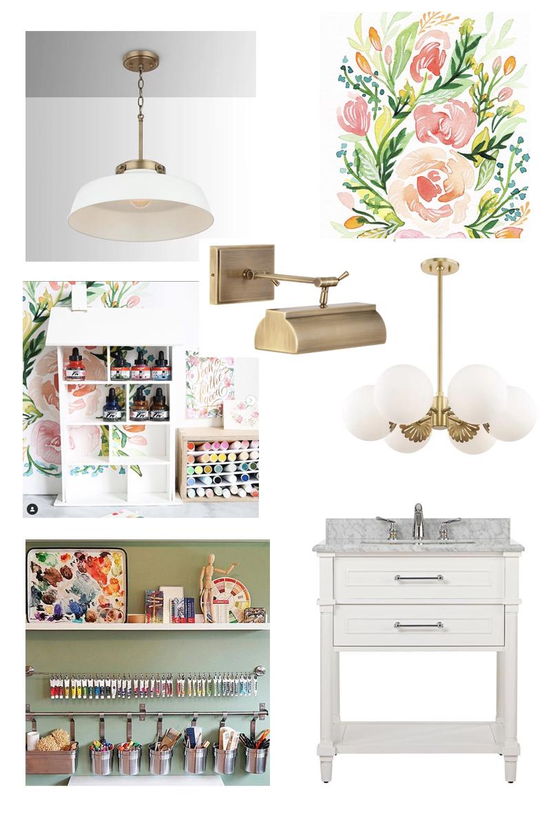 Art Studio Design Board featured by Natalie Malan Surface Designer and Illustrator in Utah lights furniture sink organization
