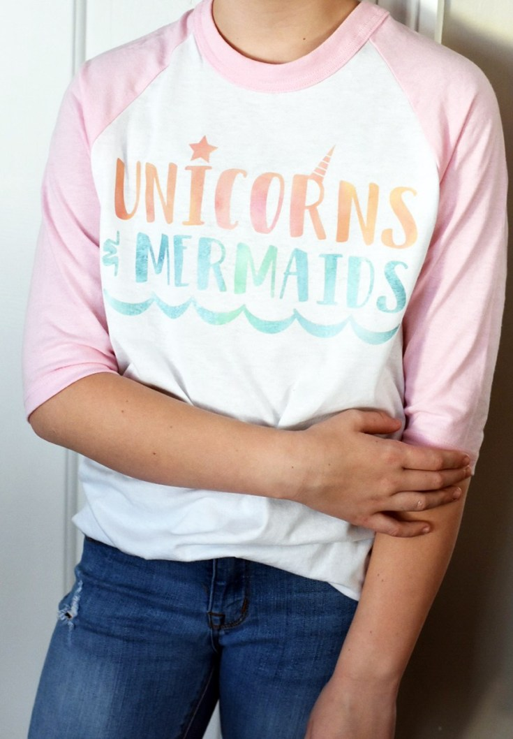 DIY Unicorn & Mermaid Shirt - Cricut Patterned Vinyl - Pineapple Paper Co.