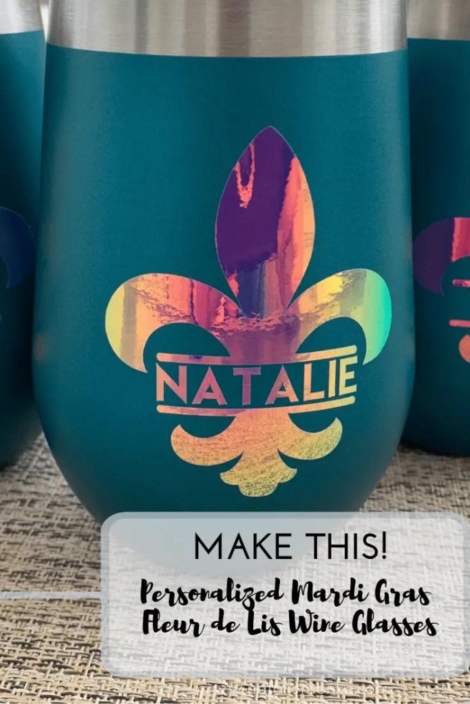 Make this personalized Mardi Gras wine tumbler using the Cricut tutorial at NatalieMenke.com