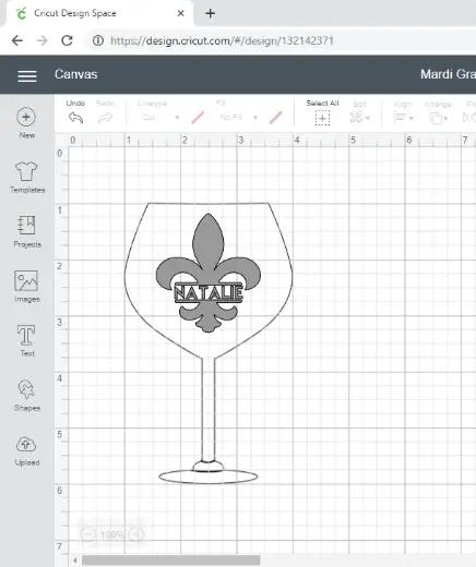 Cricut Design Space screen shot of a personalized Mardi Gras Fleur de Lis wine glass