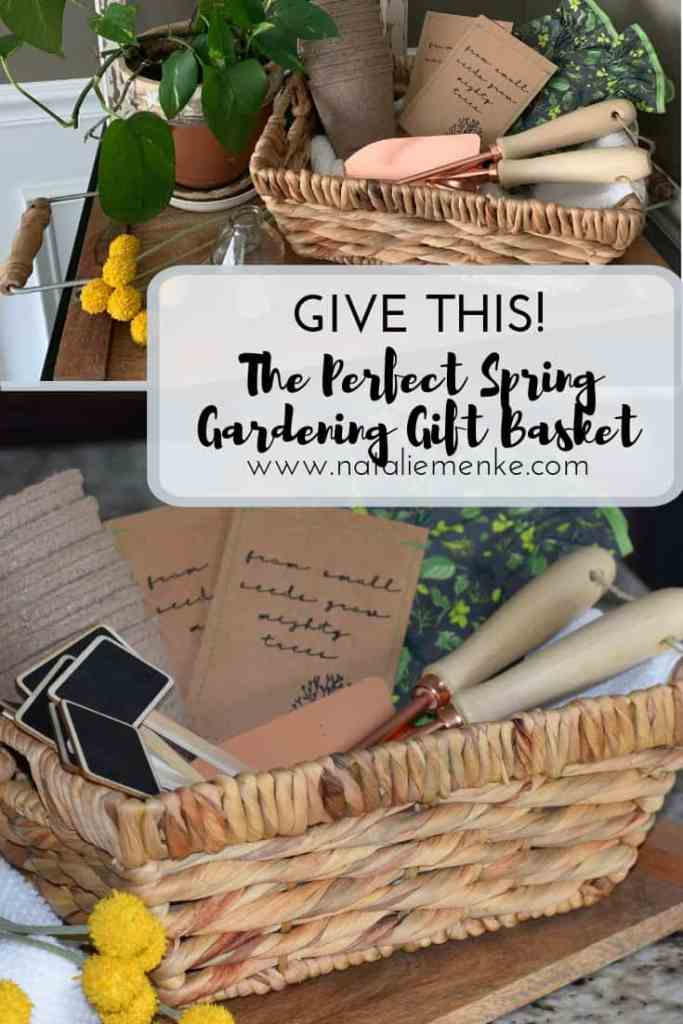 Give this Perfect Spring Gardening Basket to celebrate Earth Day, Mother's Day or a spring birthday using the Cricut tutorial at www.nataliemenke.com