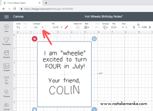 Screenshot of Cricut Design Space showing the Cut Linetype feature on your Cricut Explore Air2 for the purpose of making these summer birthday treats on www.nataliemenke.com