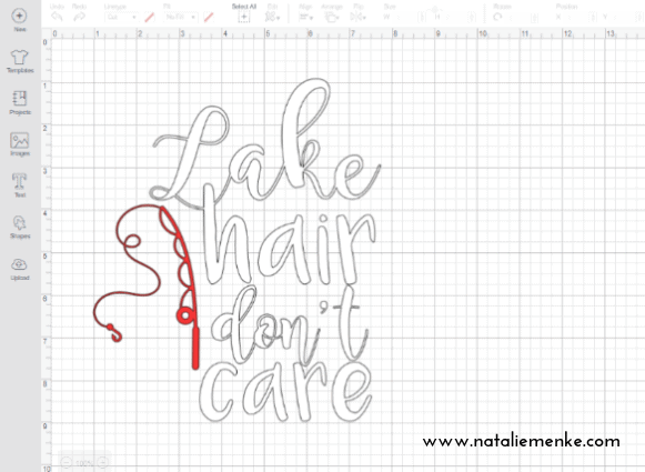 """Screen shot of the """"Lake Hair Don't Care"""" t-shirt using Cricut Design Space and the tutorial at www.nataliemenke.com"""