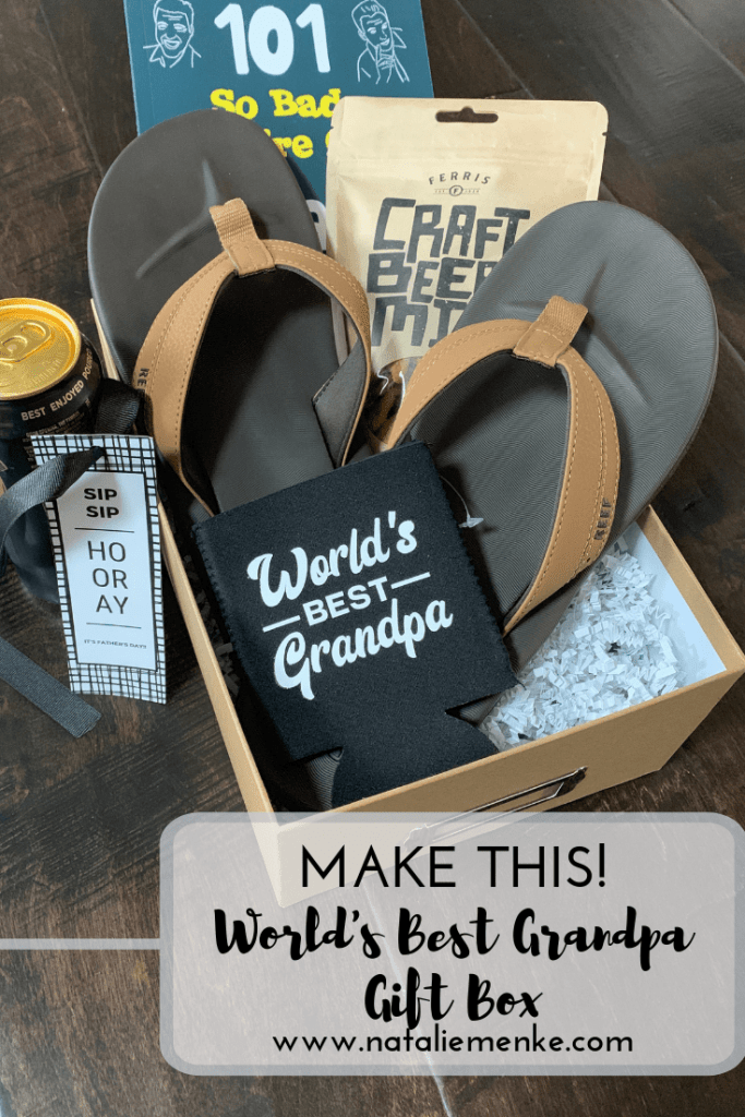 Father's Day gift basket inspiration for the World's Best Grandpa found at www.nataliemenke.com
