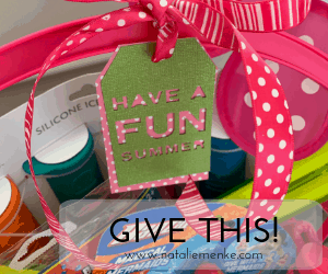Don't show up empty-handed! Make this Family Fun Summer Hostess gift basket and one-of-a-kind gift tag using the complete tutorial at www.nataliemenke.com