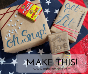 Elevate any gift into something festive for July 4th using this DIY patriotic present wrapping paper using brown kraft paper and fireworks