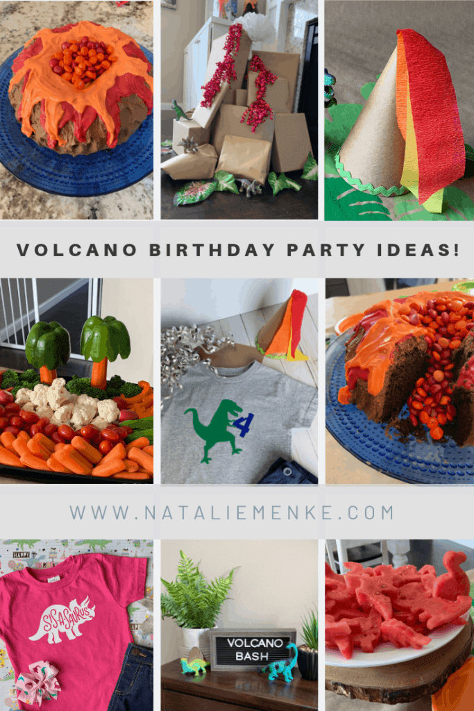 Volcano birthday party ideas including a volcano cake, dinosaur decorations, volcano party hats, dinosaur t-shirts and menu ideas at www.nataliemenke.com