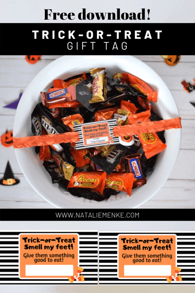 Create a one-of-a-kind fall gift by making this personalized trick-or-treat candy bowl. Watch your recipients' eyes light up when they discover you've add witches, monsters, even ghosts to represent each family member. Get the free Halloween gift tag download and Cricut tutorial at www.nataliemenke.com