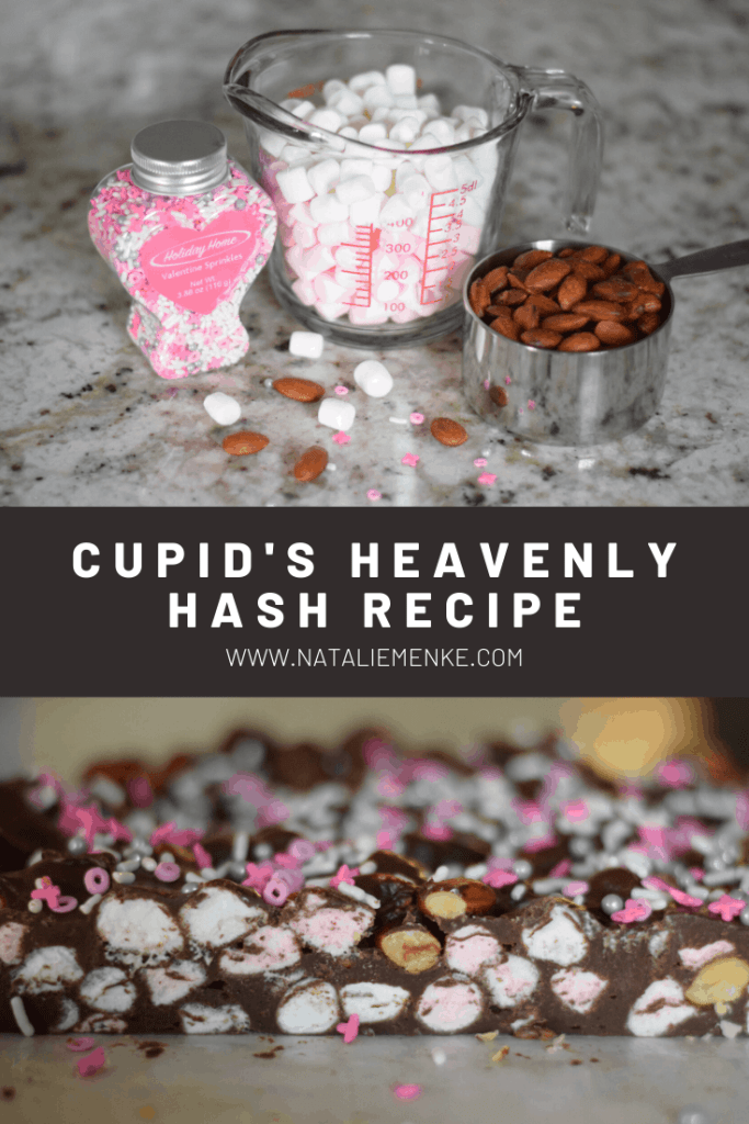 pink sprinkles, marshmallows and almonds and side-view of finished Heavenly Hash chocolate candy
