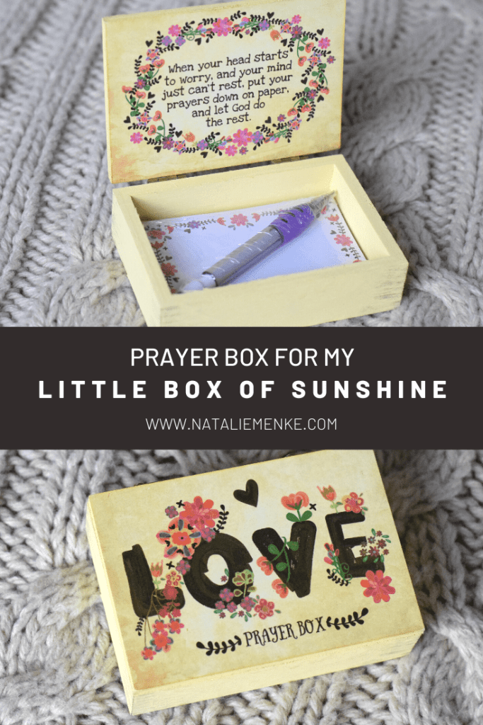 """Prayer box with the text """"LOVE"""" and flowers"""