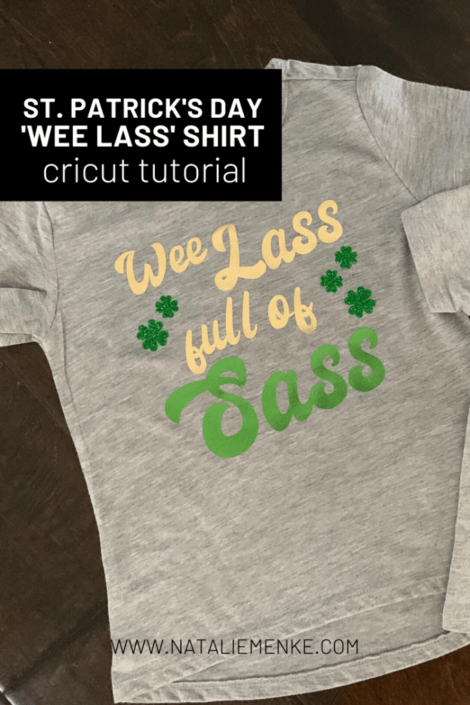 """Gray St. Patrick's Day shirts with the words """"Wee Lass Full of Sass"""" and green glitter shamrocks"""
