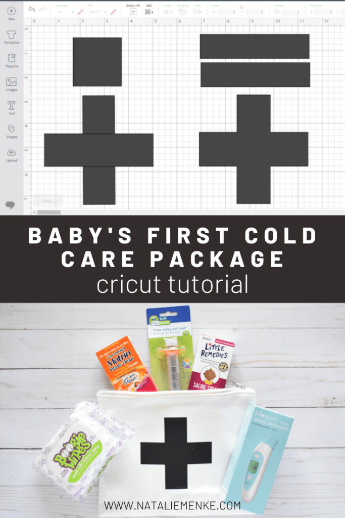 screen shot of Cricut Design Space and canva medical bag with infant cold medicine supplies