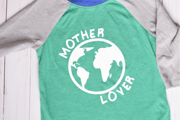 """Earth Day shirt with the words """"mother lover"""" and a earth symbol"""