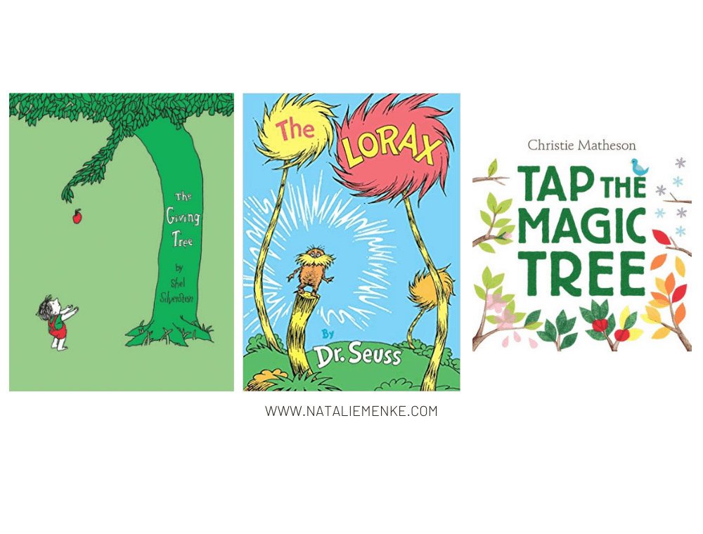 """""""The Giving Tree"""" and """"The Lorax"""" and """"Tap the Magic Tree"""" children's books"""