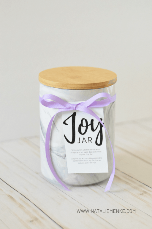 """Marble """"Joy Jar"""" with instructions for making your own tied on with a purple ribbon"""