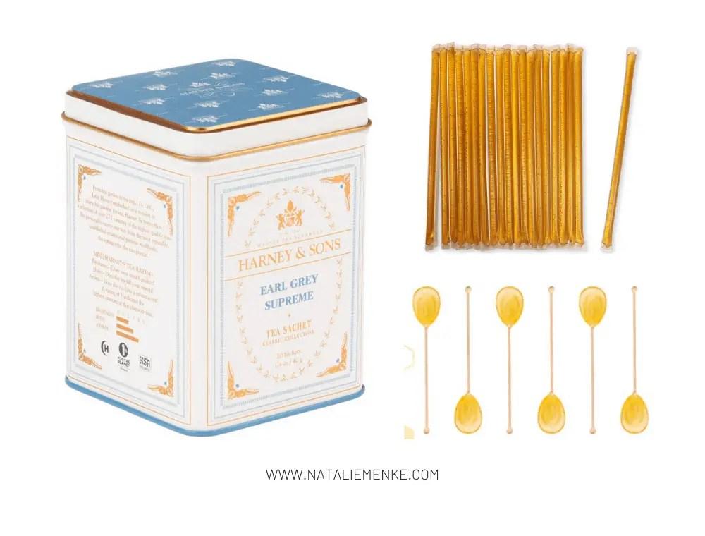 tea, honey sticks and honey spoons