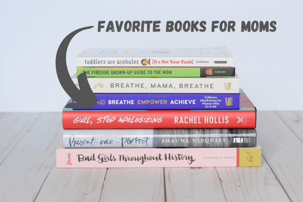 """stack of books with the text """"favorite books for mom"""""""