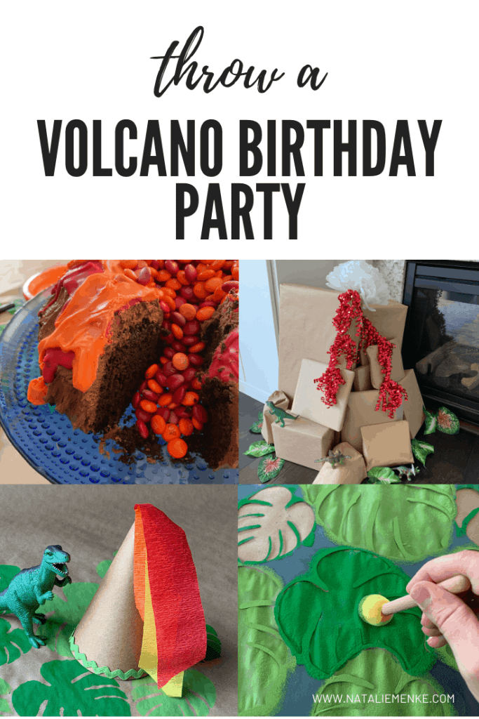 Throw a volcano birthday party with a chocolate volcano cake, a 'volcano' pile of presents, volcano party hats and tropical leaf stencils