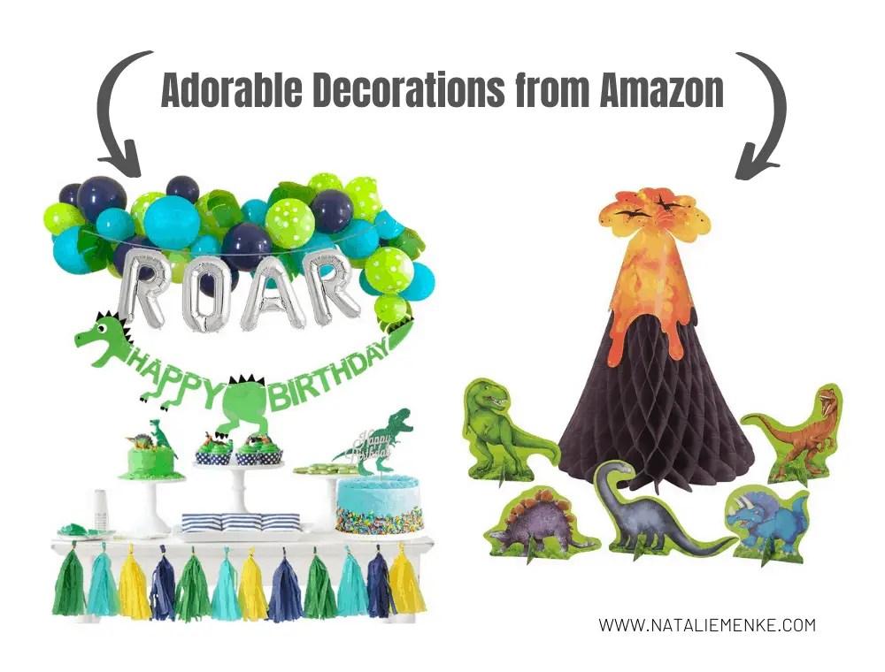dinosaur and volcano decorations from Amazon.com