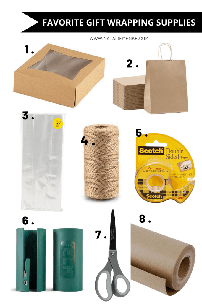 Favorite Gift Wrapping Supplies: kraft boxes, kraft gift bags, cellophane bags, twine, double-sided tape, gift wrap cutter, scissors, kraft paper