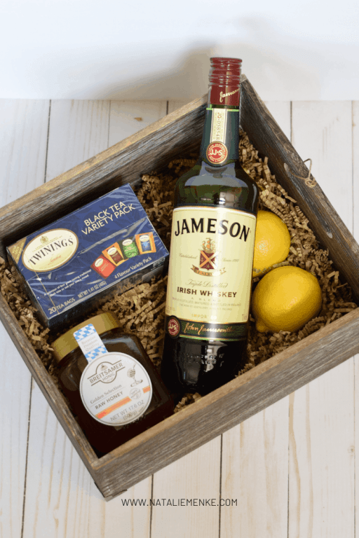 hot toddy gift basket with Jameson whiskey, honey, lemons and tea