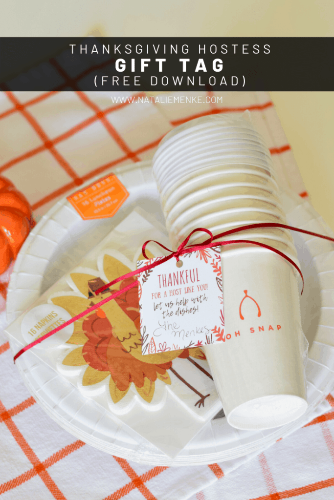 paper plates, napkins and disposable cups tied with a ribbon and 'thankful for a host like you' gift tag