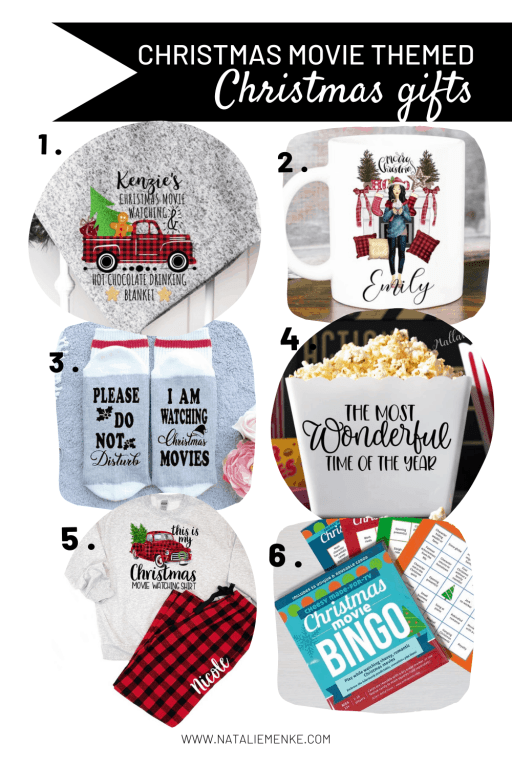Christmas movie themed Christmas gifts collage