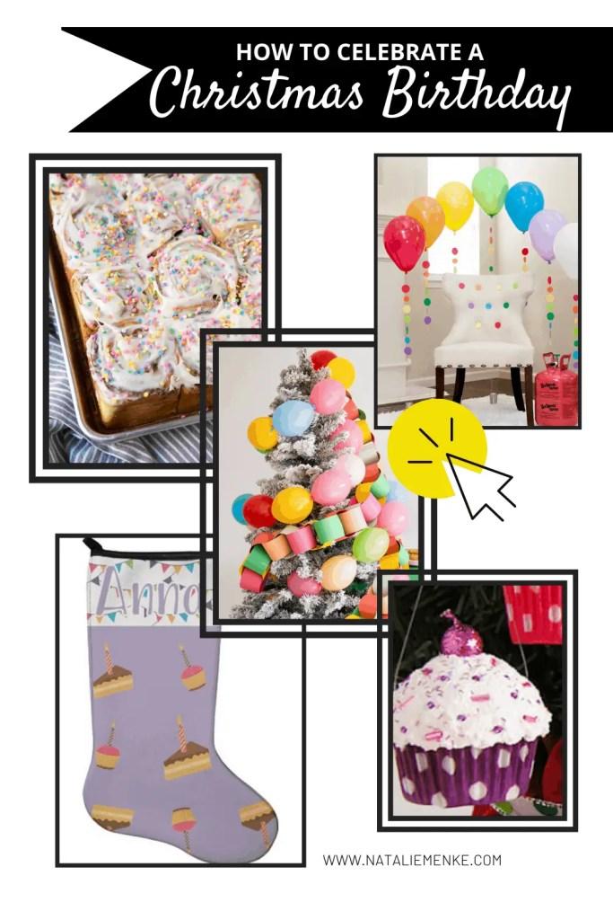 how to celebrate a Christmas birthday: sprinkle cinnamon rolls, birthday chair, birthday tree, birthday stocking and birthday ornament