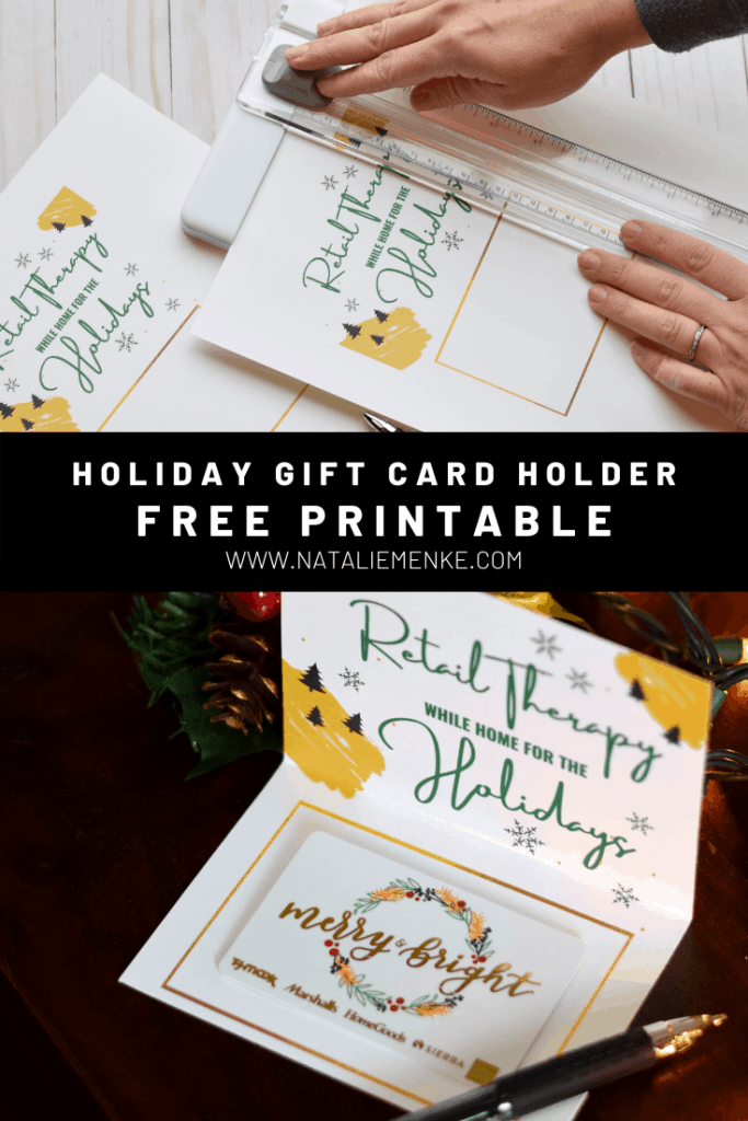 'Retail Therapy' Holiday Gift Card Holder Free Printable