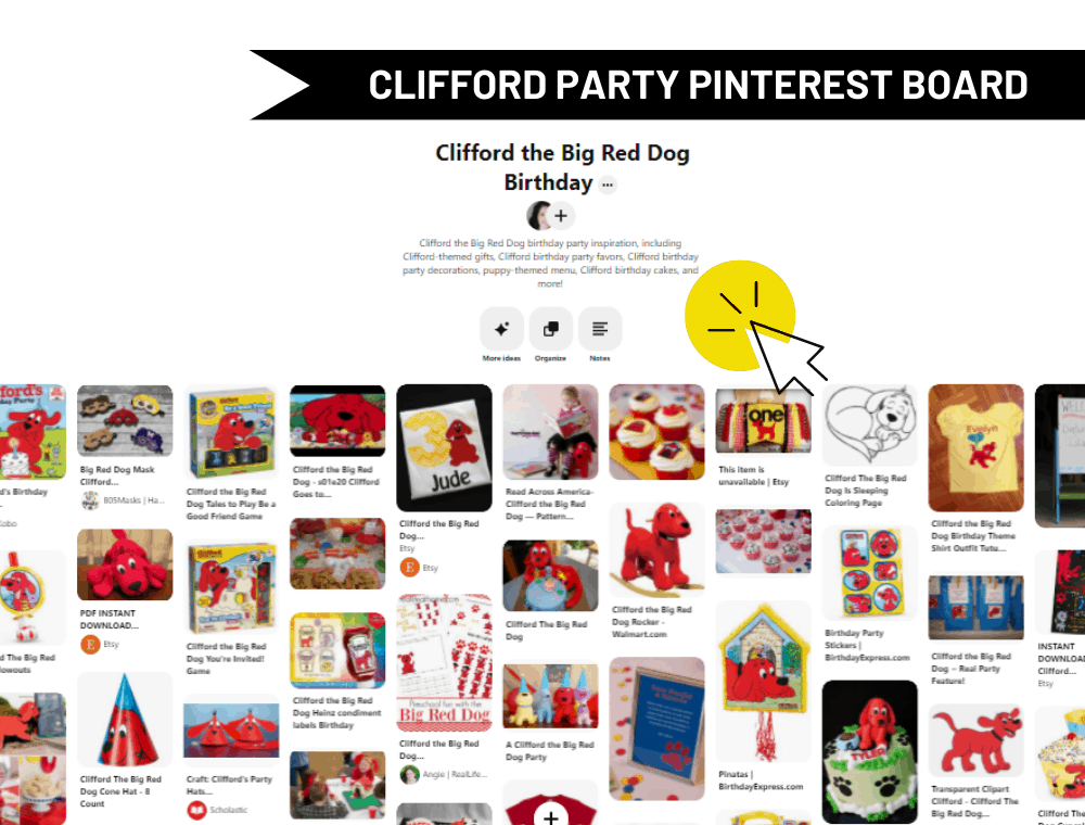 Clifford the Big Red Dog birthday party Pinterest board screen shot by Natalie Menke