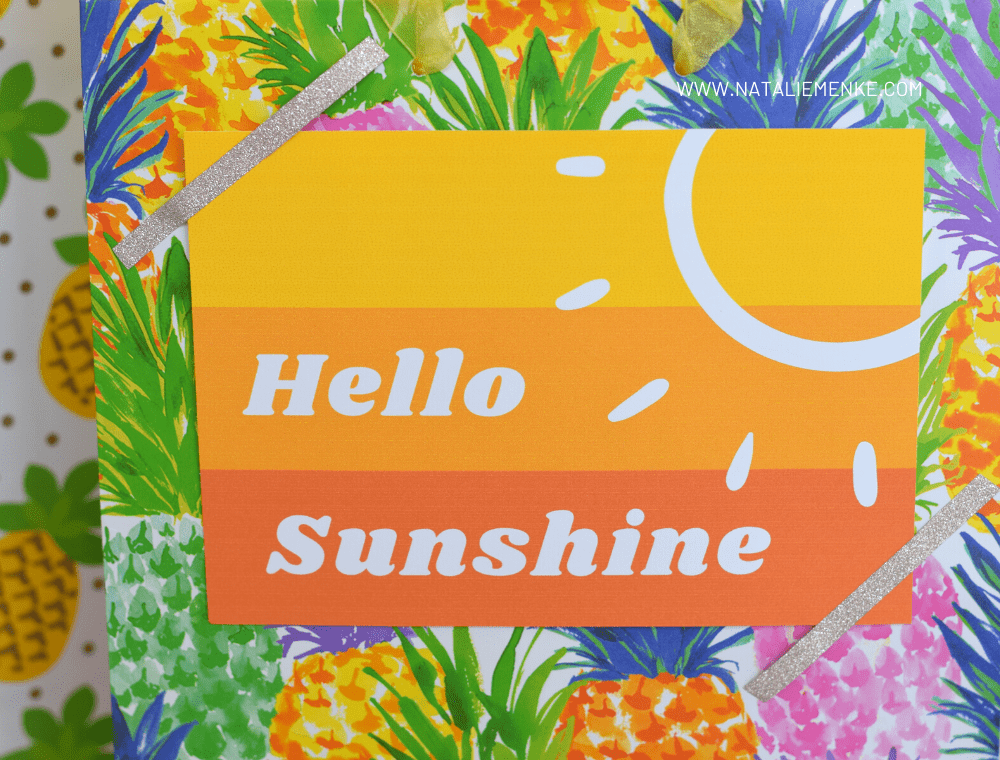 Hello Sunshine notecard attached to a Little Bag of Sunshine gift