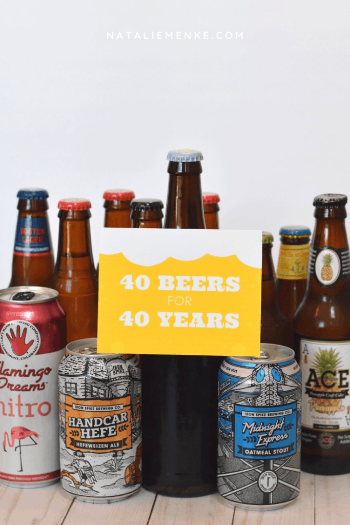 '40 beers for 40 years' beer-themed gift tag with assorted beers