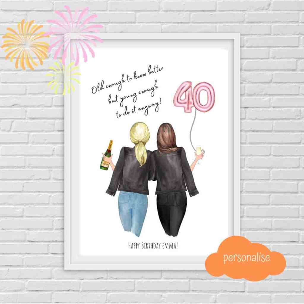 Puddle Ink Prints customized 40th birthday print