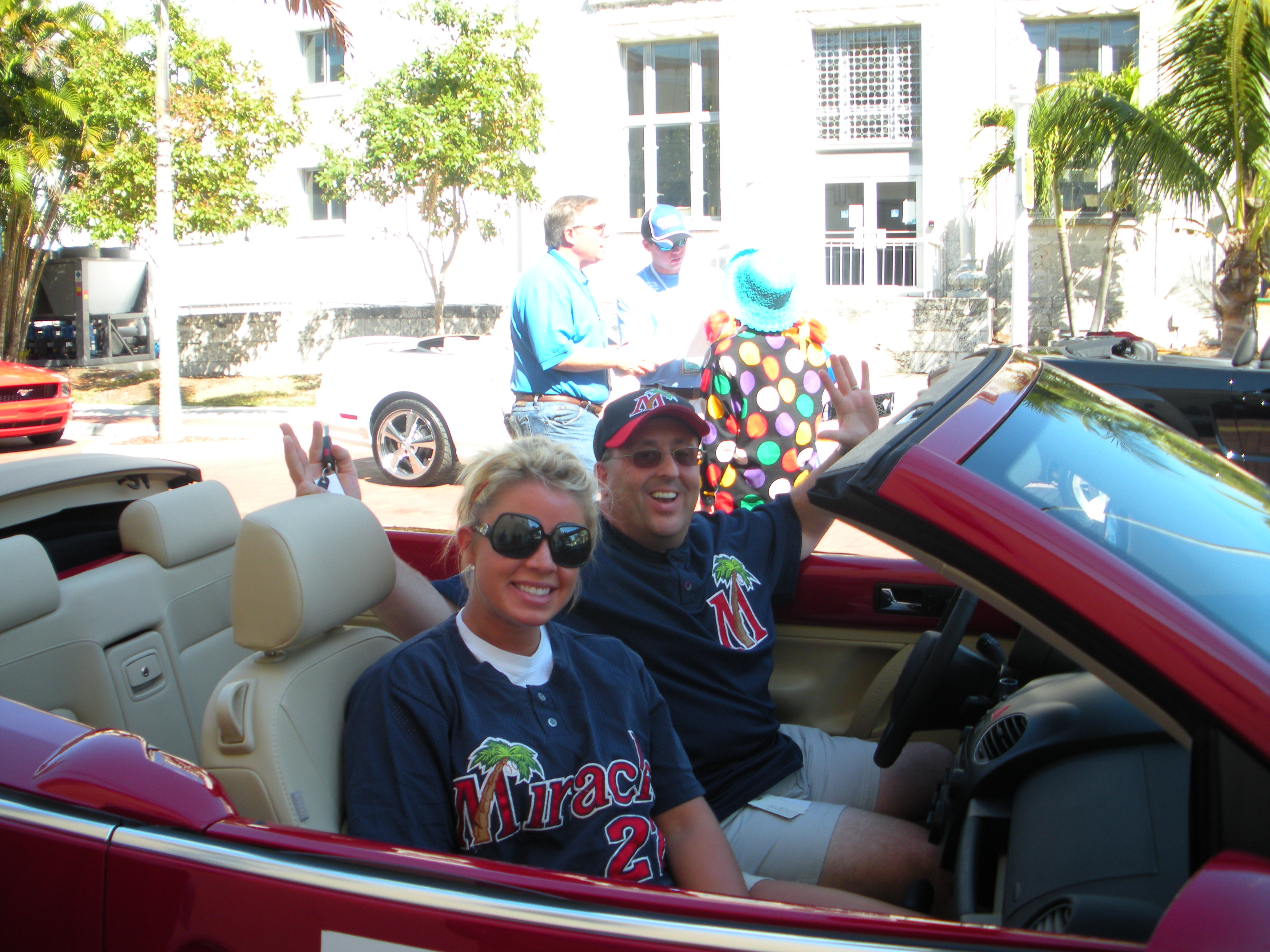 The Fort Myers Miracle GM, Steve Gliner, and I in the parade!