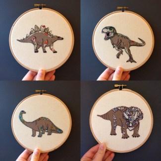 dinosaurs dinosaur embroidery textile art hoop