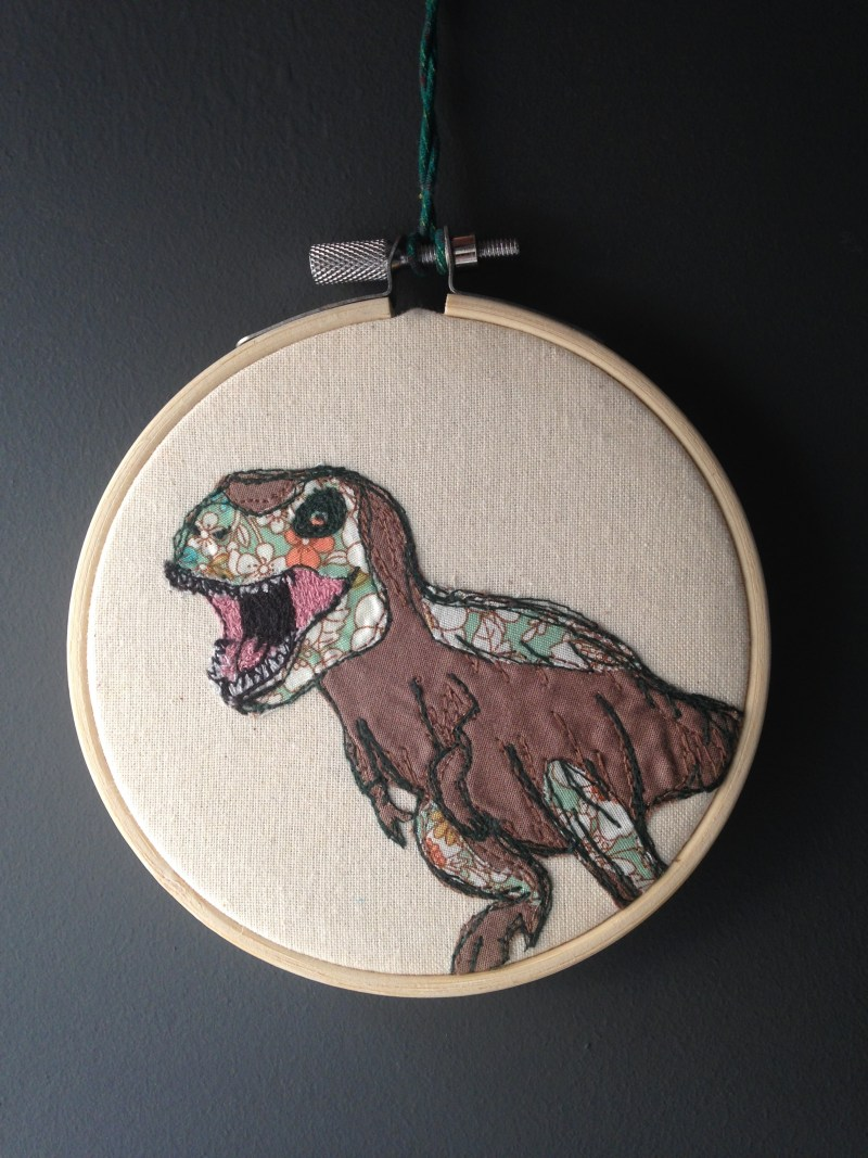 Dinosaurs Freehand machine embroidery, wall art, textile art, embroidery hoop, natalie randall textile artist, embroidery, hipster art, dinosaur, tyrannosaurus,