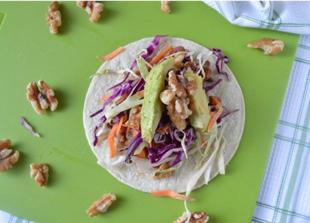 Vegan Tacos with California Walnuts overhead