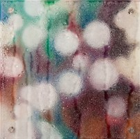 """20/20, 12""""x12"""", oil, magnets, and kiln-glass on board."""