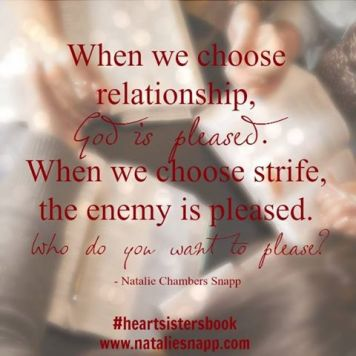 God is pleased when we choose relationship