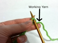 Working yarn to the right