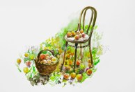 Chair with apples. Watercolor painting