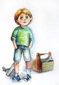 Boy. Water color, paper