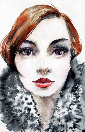 The Redhead Lady. Watercolor, paper