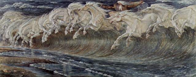 Poseidon upon the waves: Walter Crane (fun fact: this does actually happen at one point in the book)