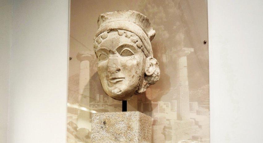 Colossal limestone female head, Arch Museum Olympia