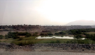 The riverbed separates the small town just past Khyber Gate